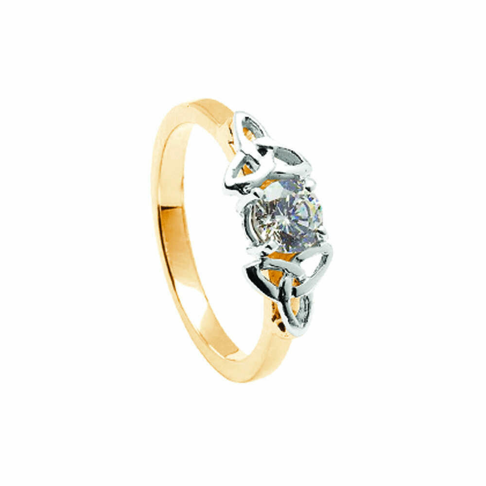 14kt Gold Diamond Trinity Engagement Ring- Yellow/White Trinity
