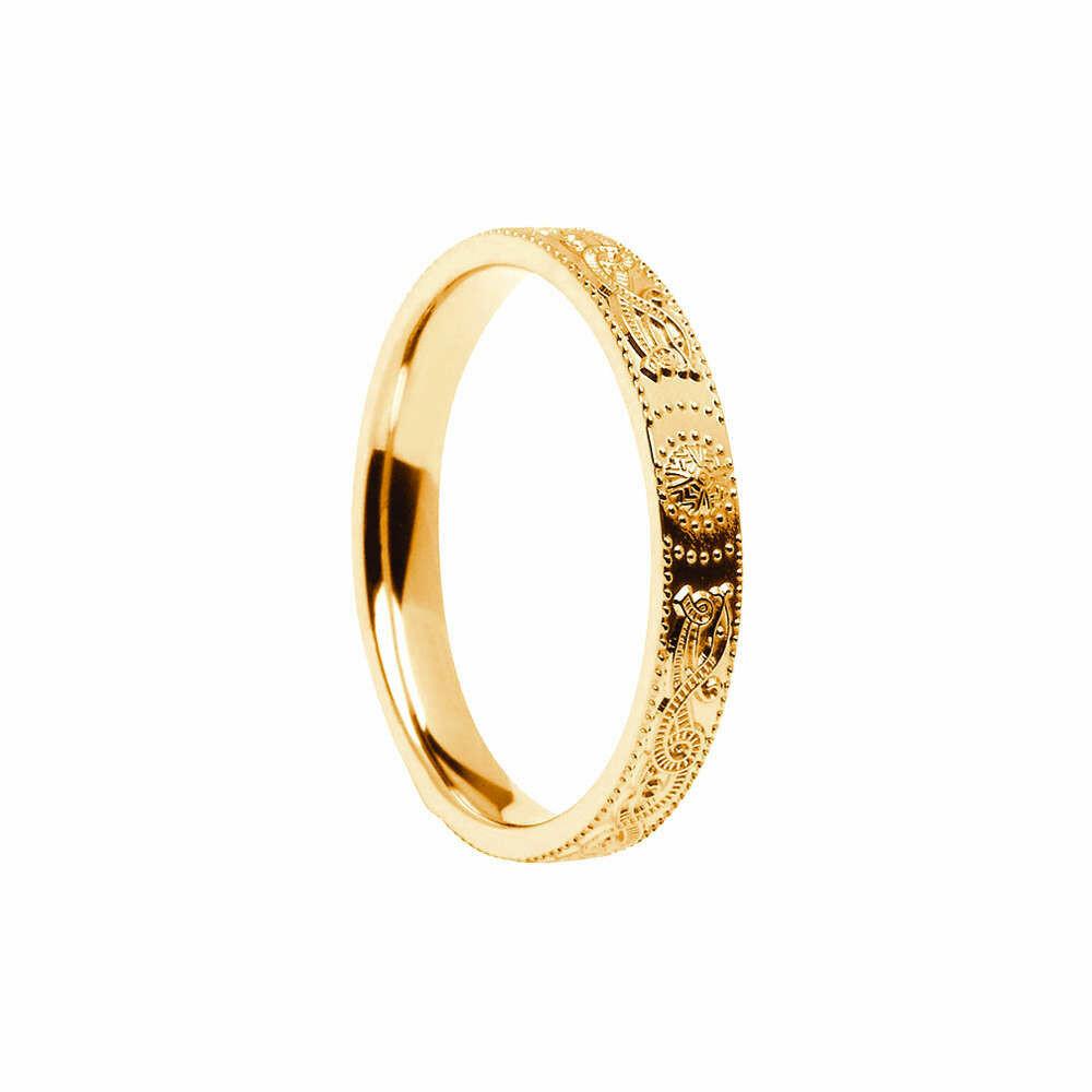 Narrow 10kt Gold Celtic Warrior® Shield Wedding Band, Comfort Fit