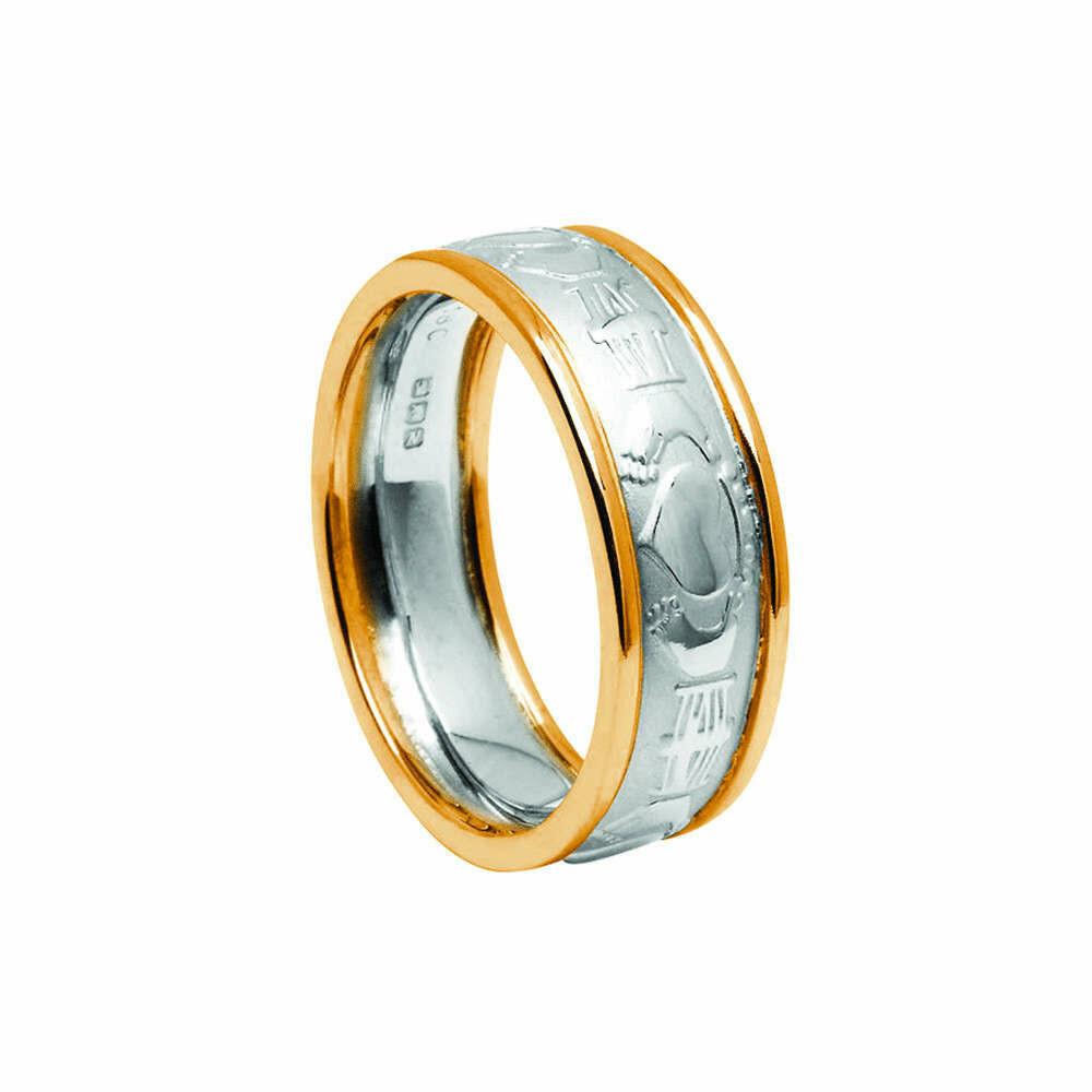 Mens 10kt White Gold Claddagh Court/Yellow Gold Trim Wedding Band