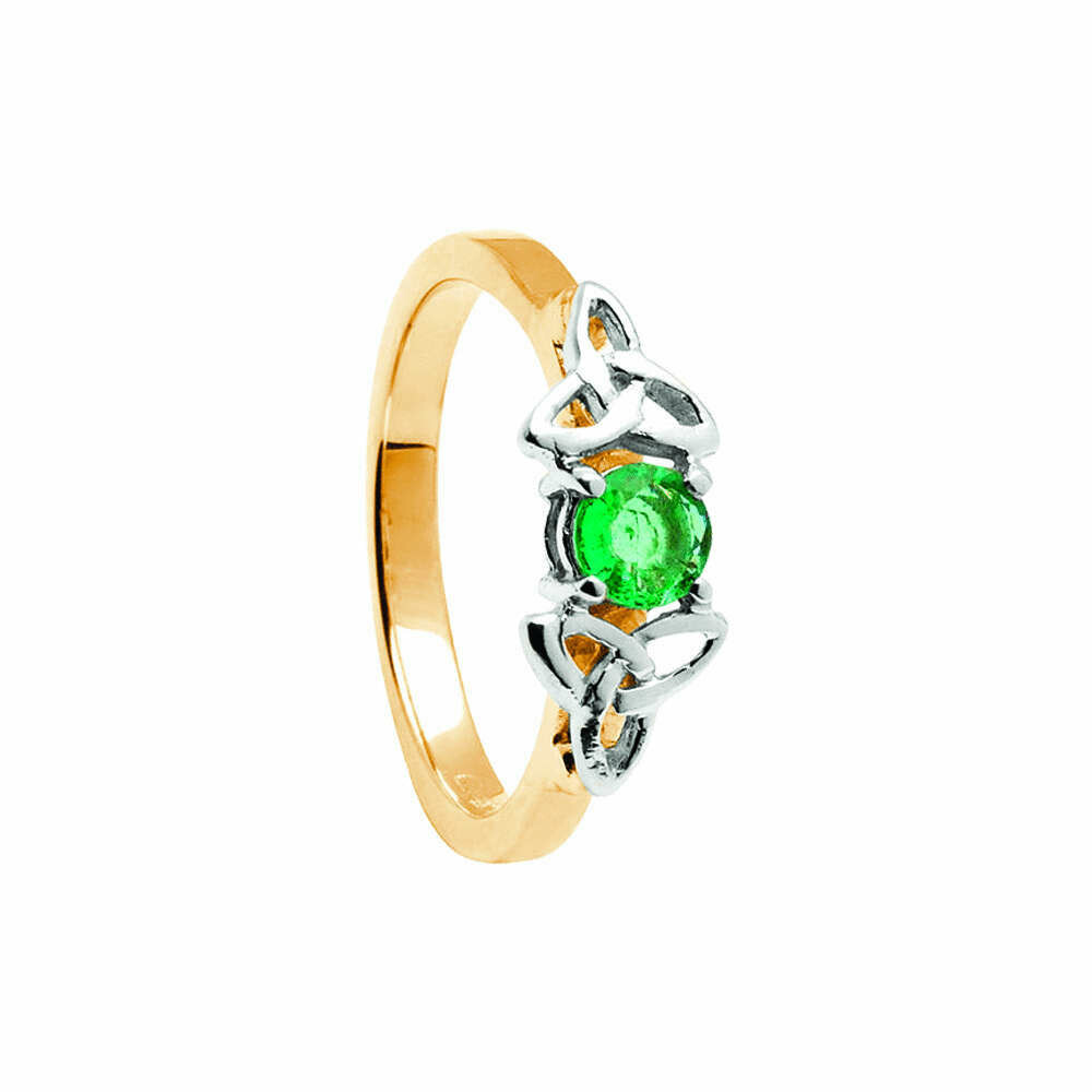 14kt Gold Emerald Trinity Engagement Ring- Yellow/White Trinity