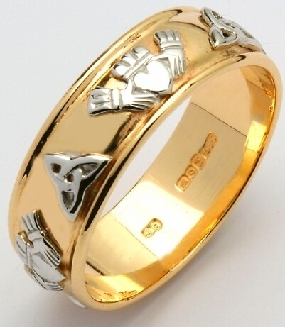 Ladies 14kt Gold Wide Corrib Claddagh with White Trinity & Claddagh