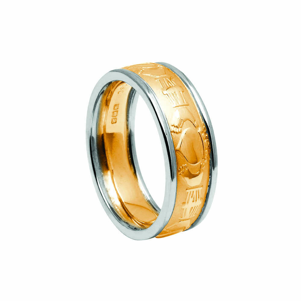 Mens 10kt Yellow Gold Claddagh Court/White Gold Trim Wedding Band