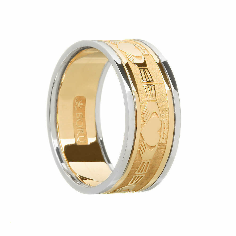 Mens 10kt Gold Claddagh Yellow Gold/White Gold Trim Wedding Band