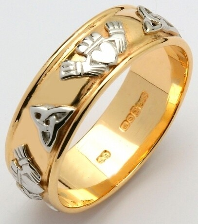 Mens 14kt Gold Wide Corrib Claddagh with White Trinity & Claddagh