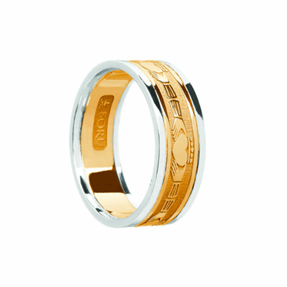Ladies 10kt Gold Claddagh Yellow Gold/White Gold Trim Wedding Band