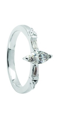 14kt Gold Certified Marquise .50cts + 2 x .11cts Baguettes Engagement Ring