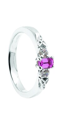 14kt Gold Pink Sapphire + 2 x .10cts Diamond Engagement Ring
