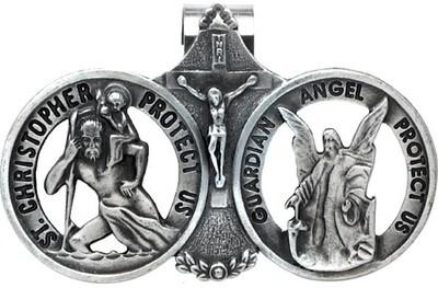 St. Christopher & Guardian Angel Auto Visor Clip