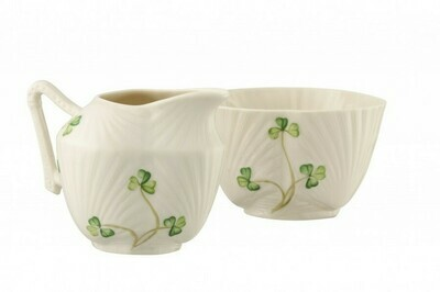 Belleek Harp Shamrock Sugar & Cream