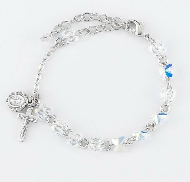 Youth Swarovski Crystal Aurora Borealis Butterfly Rosary Bracelet