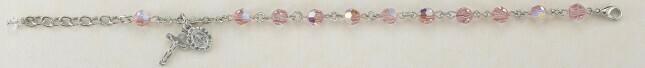 Youth Swarovski Crystal Light Rose Round Shaped Rosary Bracelet
