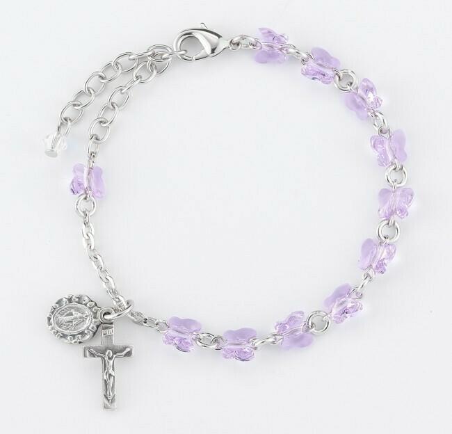 Youth Swarovski Crystal Violet Butterfly Rosary Bracelet
