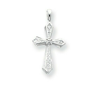 14kt White Gold AA Diamond Cross Pendant