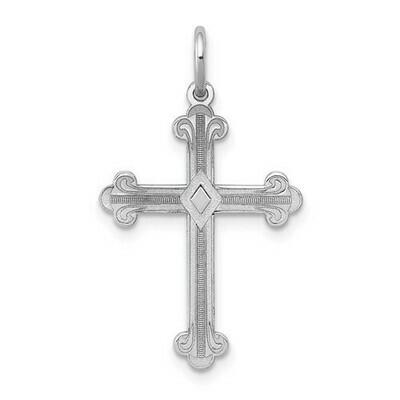 14kt. White Gold Laser Designed Cross Pendant