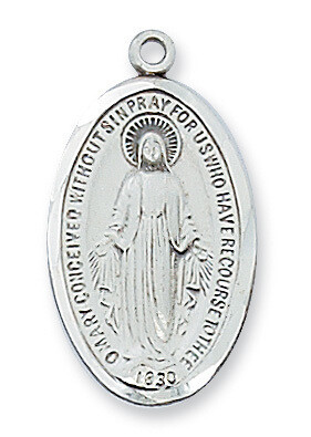 Sterling Silver Elongated Oval Miraculous Medal on a 18