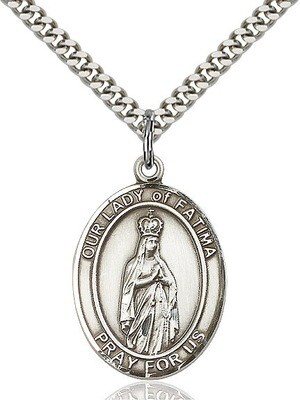 Sterling Silver Our Lady of Fatima Pendant on a 24