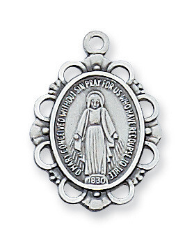 Sterling Silver Oval Miraculous Medal on a 18