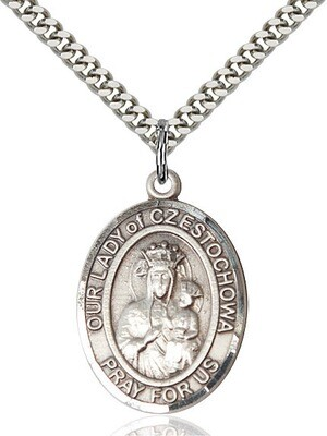 Sterling Silver Our Lady of Czestochowa Pendant on a 24