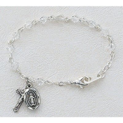 "Crystal Baby Rosary Bracelet- 5.5"""