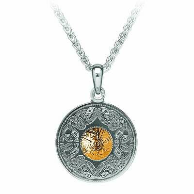 """Sterling Silver Celtic Warrior® Pendant with 18K Gold Bead- Medium & 18"""" Sterling Silver Chain"""