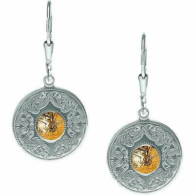 Sterling Silver Celtic Warrior® Shield Earrings with 18K Gold Bead- Small
