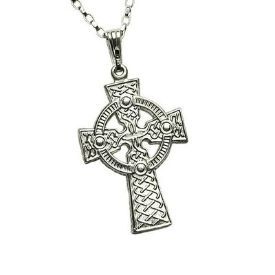 Sterling Silver Two Sided Celtic Knot Cross- Large & Chain