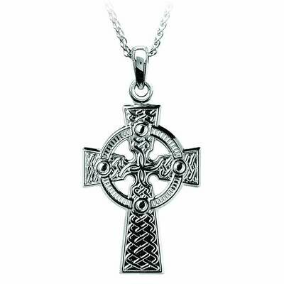 Sterling Silver Traditional Celtic Knot Cross- Large & Chain