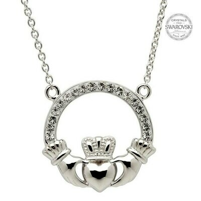 Sterling Silver Claddagh Necklace Encrusted with Swarovski® Crystals