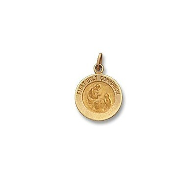 """1/2"""" Diameter 14kt Solid Gold First Holy Communion Medal"""