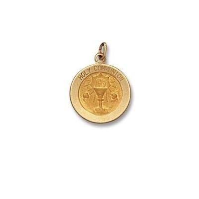 "5/8"" Diameter 14kt Solid Gold Holy Communion Medal"