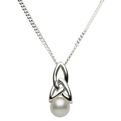 Sterling Silver Celtic Pearl Pendant & 18