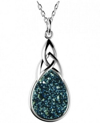 """Sterling Silver Long Celtic Drusy Pendant- Sea Green, & 18"""" Sterling Silver Chain"""