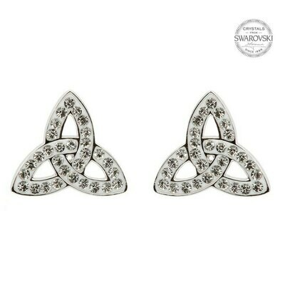 Sterling Silver Trinity Knot Stud Earrings Adorned with Swarovski® Crystals