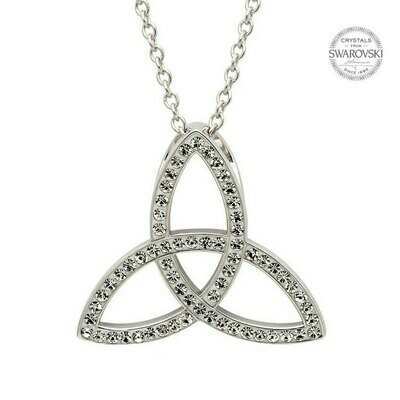 Sterling Silver Celtic Trinity Knot Necklace Embellished with Swarovski® Crystals