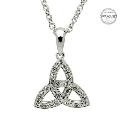 Sterling Silver Celtic Trinity Knot Embellished with Swarovski® Crystals
