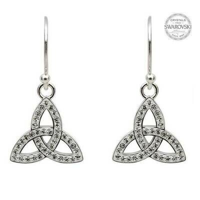 Sterling Silver Trinity Earrings Adorned with Swarovski® Crystals
