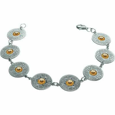 Sterling Silver Celtic Warrior® Shield Bracelet with 18K Gold Beads- Small