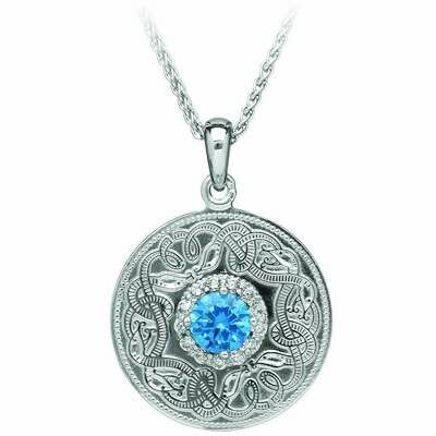 Sterling Silver Swiss Blue Celtic Warrior® Pendant & 18