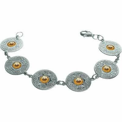 Sterling Silver Celtic Warrior® Shield Bracelet with 18K Gold Beads- Large