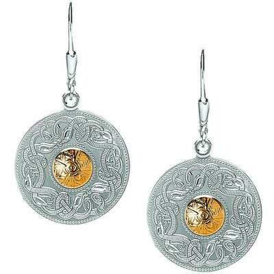 Sterling Silver Celtic Warrior® Shield Earrings with 18K Gold Bead- Large