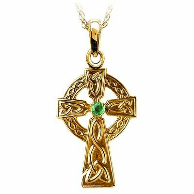 10kt Yellow Gold Traditional Celtic Cross with Emerald, and 10kt 18