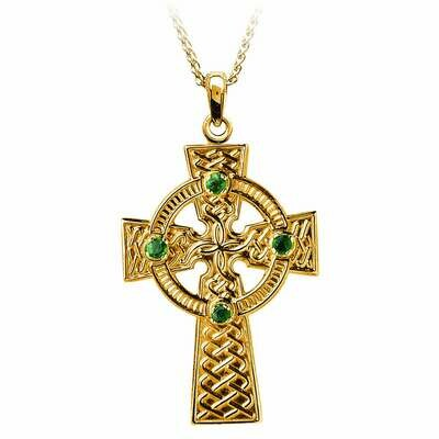 10kt Yellow Gold Traditional Emerald Set Celtic Knot Cross- Medium, and 10kt 18