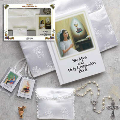 First Holy Communion Laminated Hard Cover Book Deluxe Gift Set- Girl