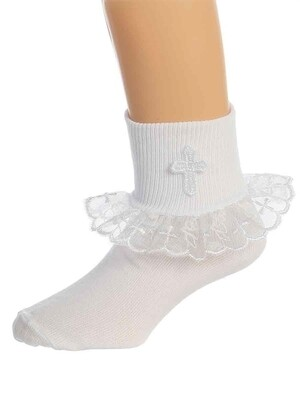 Girl's White Socks with Lace Trim and Cross