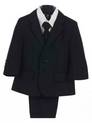 Black boy's two button suit with jacket, vest, shirt, tie, pants