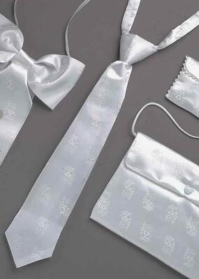 White Satin Tie with Chalice Design