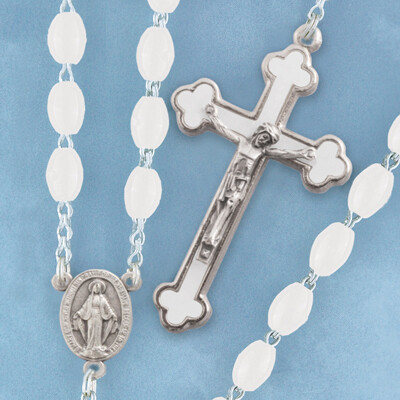 Oval Bead Rosary- White