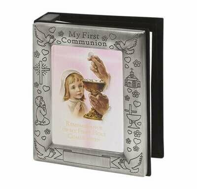 Pewter Finish Communion Girl's Photo Album