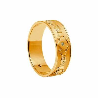 Mens 10kt Gold Diamond Set Claddagh Wedding Band