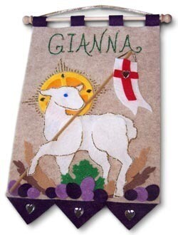 First Communion Banner Kit, 9 in. x 12 in., Lamb of God, Royal Purple
